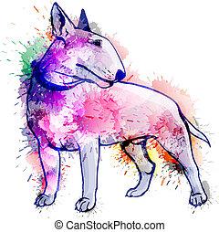 terrier, grunge, ilustración, toro