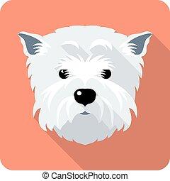 terrier, oeste, tierras altas, icono, diseño, plano, perro, ...