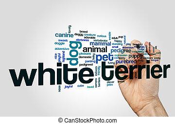 Terrier, vit, begrepp, ord, moln