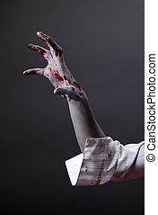 terrifiant, extrême, main, zombi, body-art