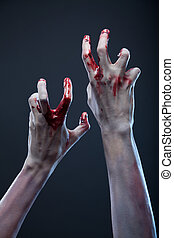 terrifiant, mains, extrême, zombi, body-art