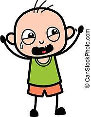 Terrified Cartoon Bald Boy