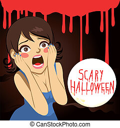 Terrified woman screaming over bloody background with the text Scary Halloween on a full moon