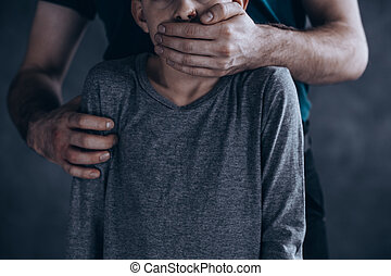 Terrified kidnapped boy - Scary, conceptual photo of ...