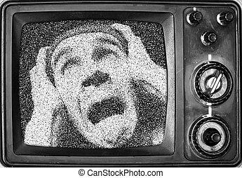 Terrified man on screen
