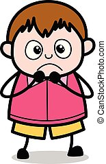 Terrified - Teenager Cartoon Fat Boy Vector Illustration