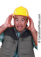 Terrified worker