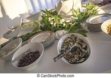 Terrine of vegetables on the restaurant table