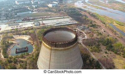 Territory near Chernobyl NPP, Ukraine. Aerial view -...