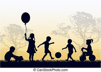 territory of a happy childhood - Silhouettes of children ...