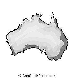 Territory of Australia icon in monochrome style isolated on white background. Australia symbol stock bitmap,raster illustration.