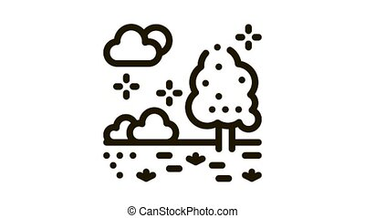 territory of well-groomed forest Icon Animation. black territory of well-groomed forest animated icon on white background
