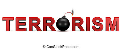 3d text TERRORISM with activated bomb instead letter O