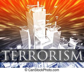 Terrorist terror attack Al Queda terrorism bombing concept illustration