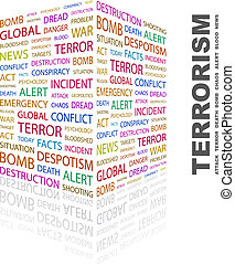 TERRORISM. Concept illustration. Graphic tag collection. ...
