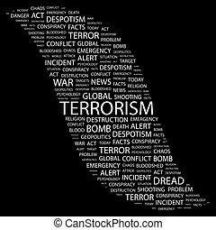 TERRORISM. Concept illustration. Graphic tag collection. Wordcloud collage.