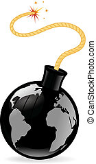 Terrorism - Black grenade bomb with world map vector...