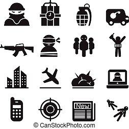 terrorism icons set