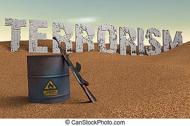 Terrorism - Written terrorism in the background. Barrel of...