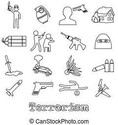 terrorism theme set of simple outline icon eps10