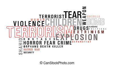 Terrorism word cloud. A lot of word about terrorism