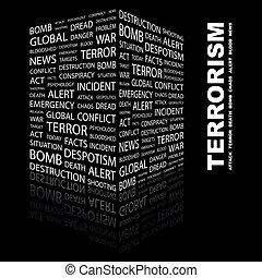 TERRORISM. Word cloud concept illustration. Wordcloud...