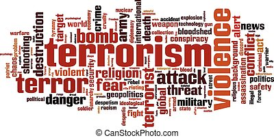 Terrorism word cloud concept. Vector illustration