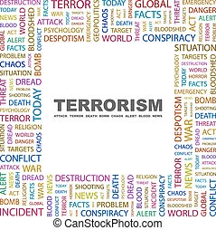 TERRORISM. Word cloud illustration. Tag cloud concept ...