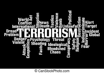 Terrorism Word Cloud on Black Background