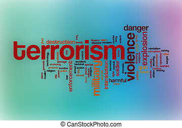 Terrorism word cloud with abstract background