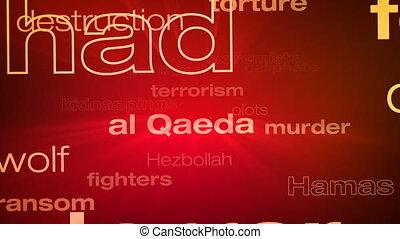 Terrorism Words Loop - Seamless animation loop of various...