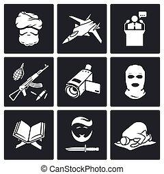 terrorisme, vecteur, ensemble, icônes
