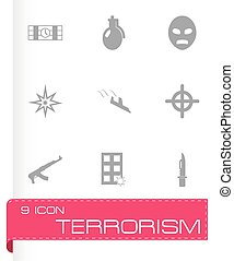 terrorisme, vector, set, iconen