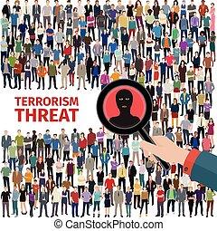 terrorismo, ameaça, ilustração