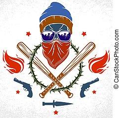 terrorismo, anarchia, revolutionary., armi, gangster, cranio, vettore, elementi, pipistrelli, crimine, brutale, retro, logotipo, stile, emblema, ghetto, baseball, aggressivo, altro, o, disegno