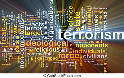 terrorismo, conceito, glowing, fundo