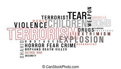 terrorismo, parola, nuvola