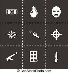 terrorismo, vetorial, pretas, jogo, ícones