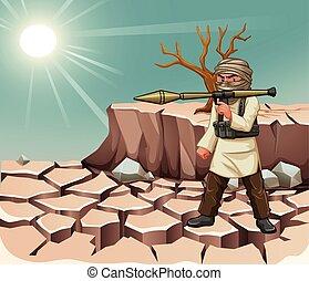 Terrorist carrying bazooka at daytime illustration