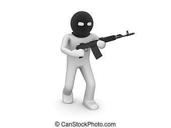 Character with automatic rifle.