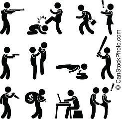 Terrorist Crime Violence Killer - A set of human figure and ...