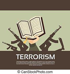 Terrorist Group Hands Holding Guns Terrorism Vector...