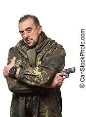terrorist, hand., gewehr, jacke, seine, militaer, mann