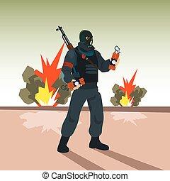 Terrorist Hold Bomb Terrorism Concept Flat Vector...