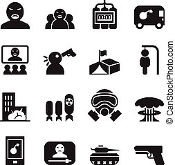 Terrorist Icons set vector illustration