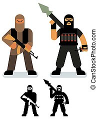 Terrorist - Set of 2 terrorist illustrations in 2 versions.