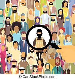 Terrorist In Crowd People Group Terrorism Threat Concept...
