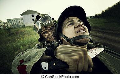 Terrorist is catching a soldier