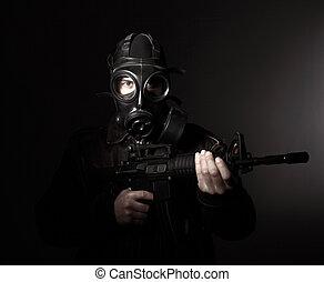 terrorist, med, gas maskera