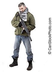 terrorist, med, gevär